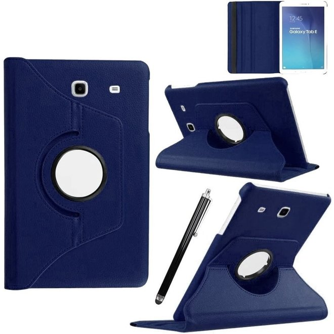Samsung Galaxy Tab E 9.6 Inch Hoes Cover 360 graden draaibare Case donker blauw