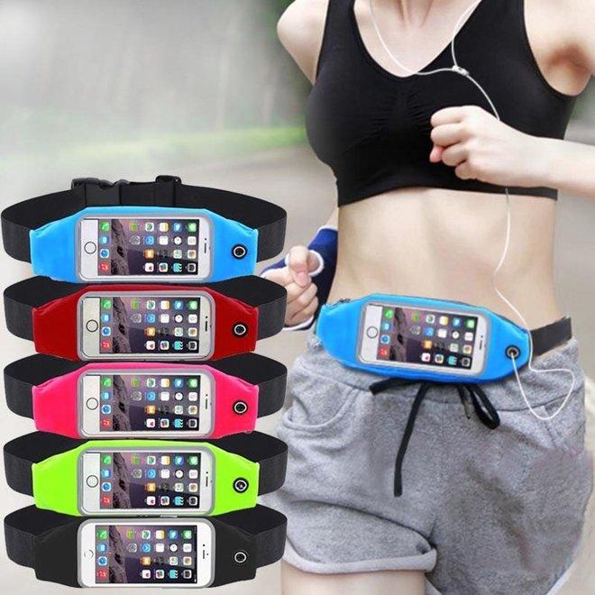 Sports heuptas waist band sportband waterproof running smartphone tas iphone tas belt geschikt voor iphone 6/7/8. Zwart
