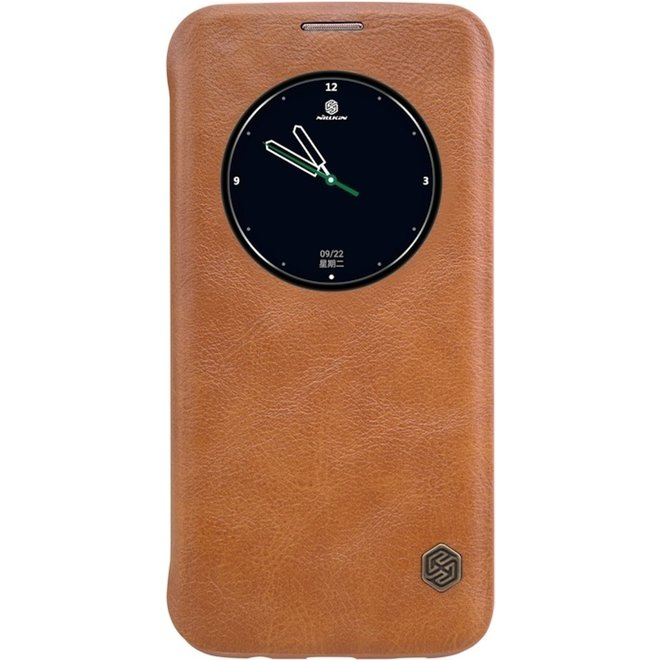 Nillkin Qin Hoesje met Venster voor Samsung Galaxy S7 Edge (SM-G935) - Bruin