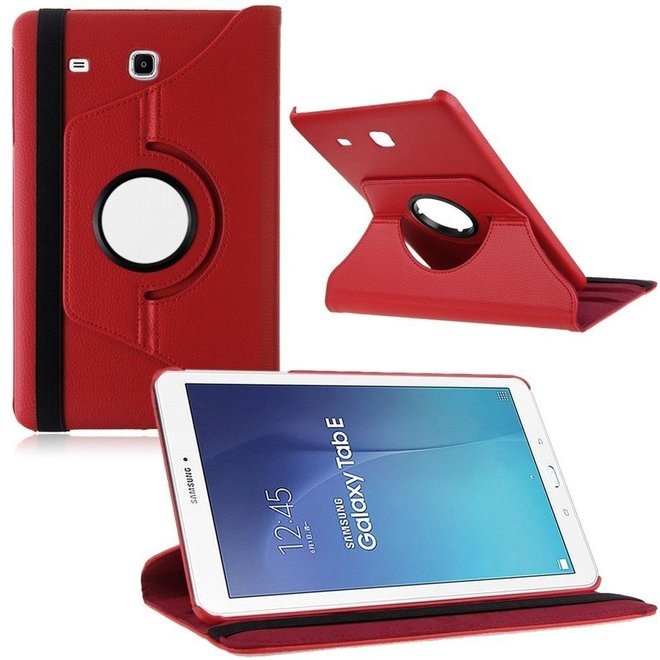 Samsung Galaxy Tab E 9.6 Inch SM - T560 / T561 Hoes Cover 360 graden draaibare Case rood