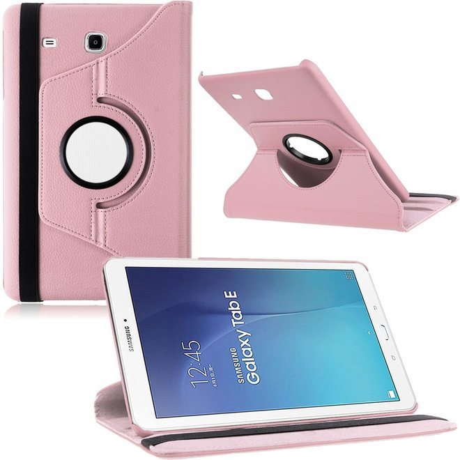 Samsung Galaxy Tab E 9.6 Inch SM - T560 / T561 Hoes Cover 360 graden draaibare Case licht roze (T560/T561)
