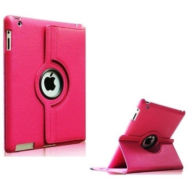iPad 2/3/4 hoesje 360 graden Multi-stand draaibaar - Donker Roze
