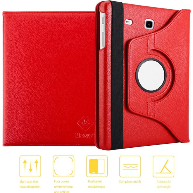 360 graden draaibare roterende tablethoes Samsung Galaxy Tab E 9.6 (T560) - Rotatie case hoesje - Rood (T560/T561)