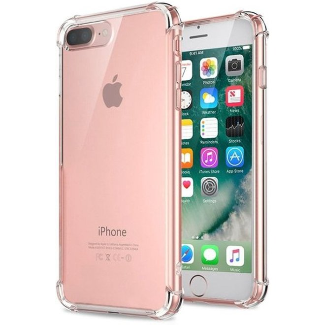 Pearlycase Transparant tpu siliconen case backcover hoesje voor iPhone 8 Plus (verstevigde randen)