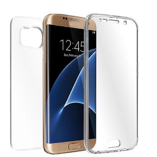 Shockproof 360 graden Samsung Galaxy S7 Edge Siliconen Ultra Dun Gel TPU Hoesje Full Cover  Case (Voor en Achter) Transparant (G935)