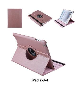 Apple iPad 2-3-4 Rose Gold Book Case Tablethoes 360° Draaibaar - 2 kijkstanden - Kunstleer