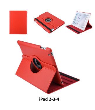Apple iPad 2-3-4 Rood Book Case Tablethoes 360° Draaibaar - 2 kijkstanden - Kunstleer