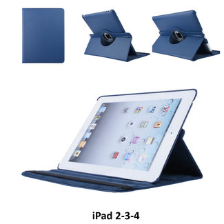 xlmobiel.nl Apple iPad 2-3-4 Blauw 360 graden draaibare hoes - Book Case Tablethoes
