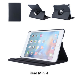 Apple iPad Mini 4 Zwart Book Case Tablethoes 360 degree Draaibaar - 2 kijkstanden - Kunstleer