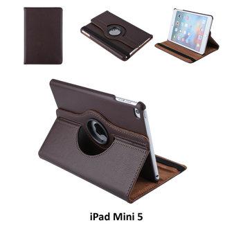 Apple iPad Mini 2019 Bruin Book Case Tablethoes 360 degree Draaibaar - 2 kijkstanden - Kunstleer