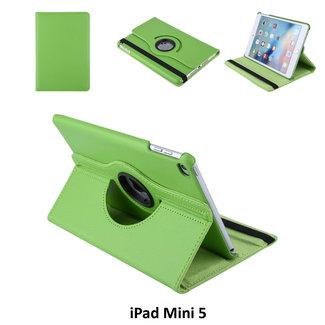 Apple iPad Mini 2019 Groen Book Case Tablethoes 360 degree Draaibaar - 2 kijkstanden - Kunstleer