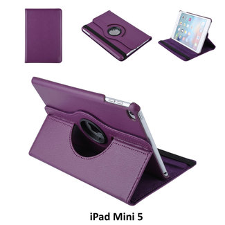 xlmobiel.nl Apple iPad Mini 2019 Paars Book Case Tablethoes 360 degree Draaibaar - 2 kijkstanden - Kunstleer