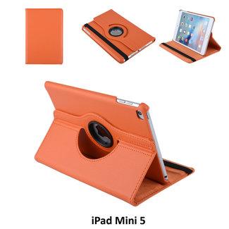 Apple iPad Mini 2019 Oranje Book Case Tablethoes 360 degree Draaibaar - 2 kijkstanden - Kunstleer