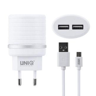 UNIQ Accessory UNIQ Accessory Dual Port 2.4A snellader - Micro USB Witte telefoon oplader (CE)