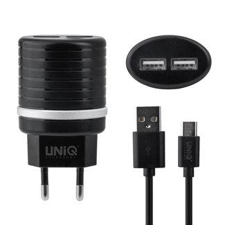 UNIQ Accessory UNIQ Accessory Dual Port 2.4A  Micro USB snellader - Zwarte telefoon oplader (CE)