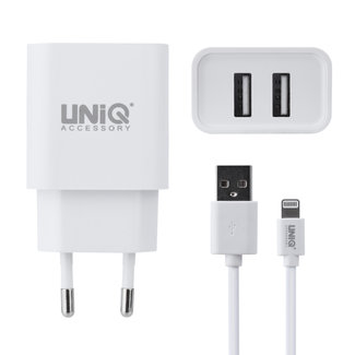 UNIQ Accessory UNIQ Accessory Dual Port 2.4A Apple Lightning snellader - Wit (CE)