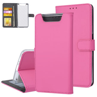 Samsung Galaxy A80 Hot Pink Booktype hoesje Pasjeshouder - Magneetsluiting