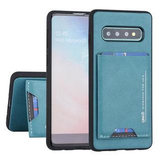 UNIQ Accessory Samsung Galaxy S10 Plus UNIQ Accessory Groen Backcover hoesje Pasjeshouder - 2 Kijkstanden - Kunstleer