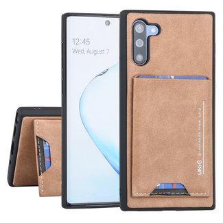 UNIQ Accessory Samsung Galaxy Note 10 UNIQ Accessory Bruin Backcover hoesje Pasjeshouder - 2 Kijkstanden - Kunstleer