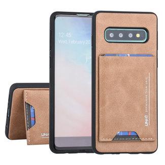 UNIQ Accessory Samsung Galaxy S10 Plus UNIQ Accessory Bruin Backcover hoesje Pasjeshouder - 2 Kijkstanden - Kunstleer