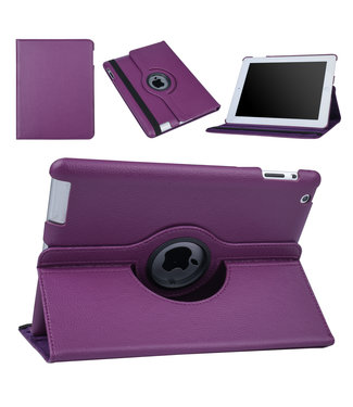 xlmobiel.nl Apple iPad 2-3-4 Paars Book Case Tablethoes Draaibaar - Kunstleer