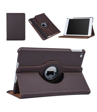 xlmobiel.nl Apple Ipad Mini 4 Bruin Book Case Tablethoes Draaibaar - Kunstleer