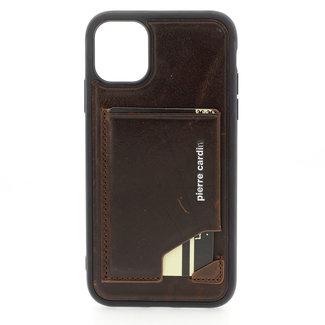 Pierre Cardin Pierre Cardin Leather series back cover voor de Apple iPhone 11 Pro Max - Donker Bruin - Echt Leer