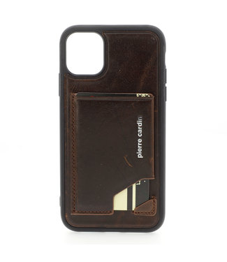 Pierre Cardin Apple iPhone 11 Pro Max Donker Bruin Pierre Cardin Backcover hoesje Genuine leather - Echt Leer
