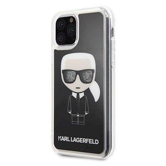 Karl Lagerfeld Karl Lagerfeld Collection back cover Glitter Glasses met vloeibare glitters in de bril voor de Apple iPhone 11 Pro Max - Zwart - Transparant