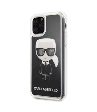 Karl Lagerfeld Karl Lagerfeld back cover Glitter Glasses met vloeibare glitters in de bril voor de Apple iPhone 11 Pro Max - Zwart - Transparant