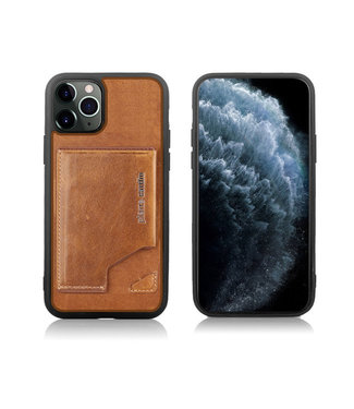 Pierre Cardin Apple iPhone 11 Pro Max Bruin Pierre Cardin Backcover hoesje Genuine leather - Echt Leer