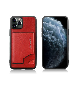 Pierre Cardin Apple iPhone 11 Pro Max Rood Pierre Cardin Backcover hoesje Genuine leather - Echt Leer