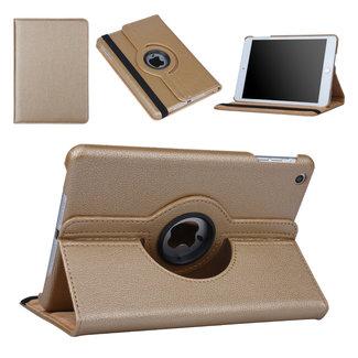 xlmobiel.nl Hoes voor Apple iPad Mini 2 / 3 Book Case 360 Graden Draaibaar - Goud Leer Cover Rotatie Hoesje voor iPad Mini 2 / 3