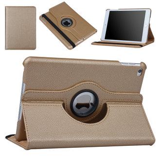 xlmobiel.nl Hoes voor Apple iPad Mini 5 / 4 Book Case 360 Graden Draaibaar - Goud Leer Cover Rotatie Hoesje voor iPad Mini 5 / 4