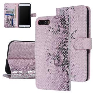 UNIQ Accessory UNIQ Accessory iPhone 7-8 Plus Roze Slangenleer Booktype hoesje