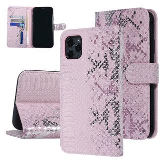 UNIQ Accessory UNIQ Accessory iPhone 11 Pro Max Roze Slangenleer Booktype hoesje