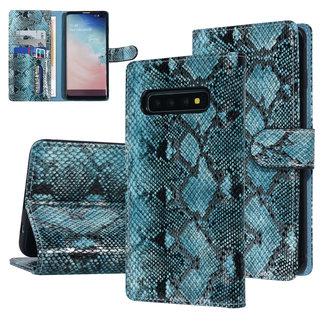 UNIQ Accessory UNIQ Accessory Galaxy S10 Plus Zwart en Groen Slangenleer Booktype hoesje