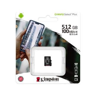 Kingston Kingston 512GB microSDHC Canvas Select Plus 100R A1 C10 Single Pack zonder Adapter