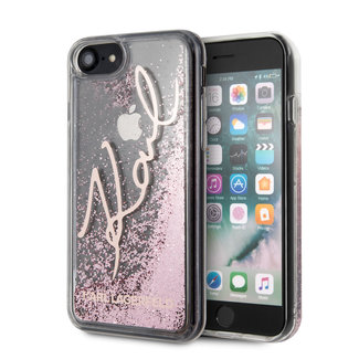 Karl Lagerfeld Karl Lagerfeld Apple iPhone SE2 (2020) & iPhone 8 Rose Gold Backcover hoesje - glitter Signature