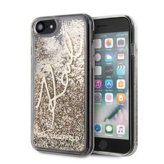 Karl Lagerfeld Karl Lagerfeld Apple iPhone SE2 (2020) & iPhone 8 Goud Backcover hoesje - glitter Signature