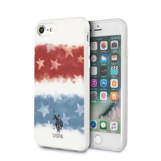 US Polo US Polo Apple iPhone SE2 (2020) & iPhone 8 Wit Backcover hoesje - Fading Amerikaanse vlag