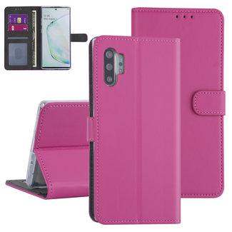 Andere merken Samsung Galaxy Note 10 Plus Felroze Booktype hoesje - Kaarthouder