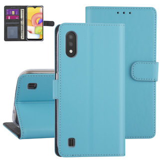 xlmobiel.nl Samsung Galaxy A01 Lichtblauw Booktype hoesje - Kaarthouder (A015F)