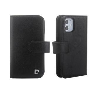 Pierre Cardin Pierre Cardin Apple iPhone 12 Mini zwart Booktype hoesje - Echt leder