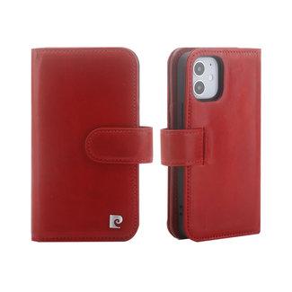 Pierre Cardin Pierre Cardin Apple iPhone 12 Mini rood Booktype hoesje - Echt leder