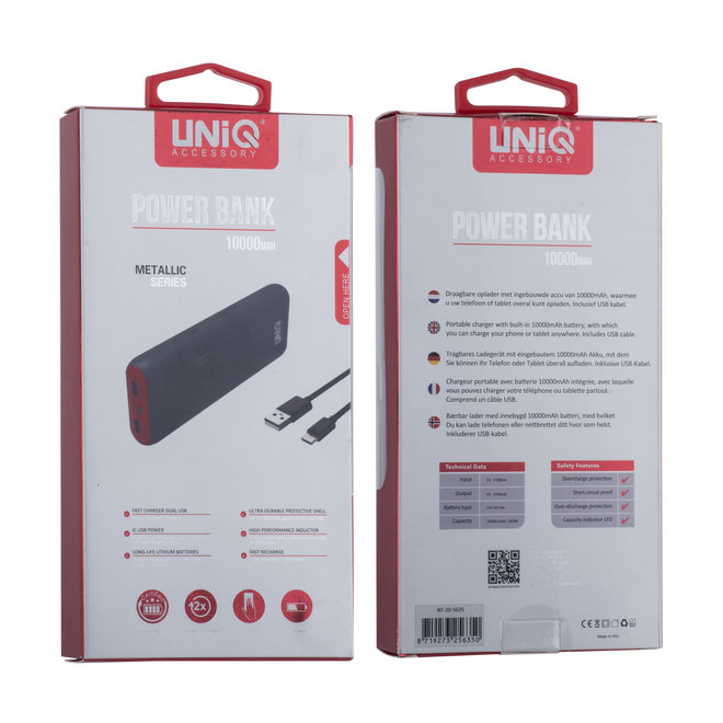 Powerbank 10000 mAh (inclusief kabel) - Soft Touch Serie
