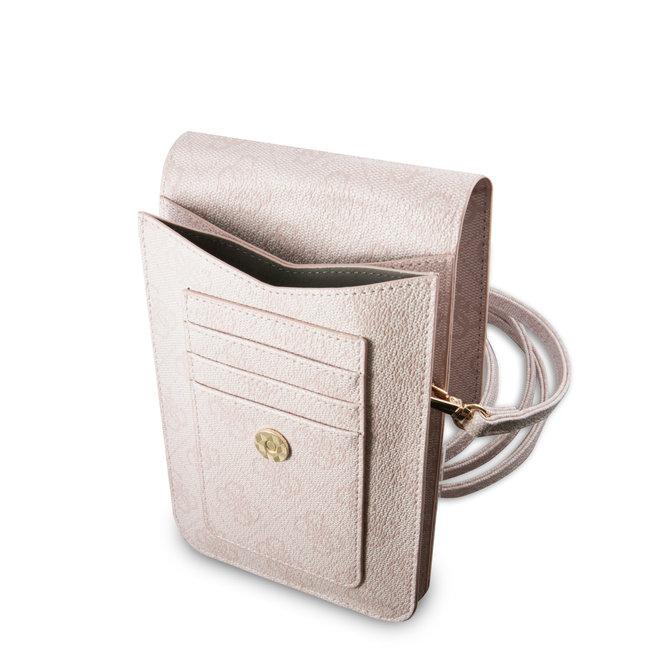 Guess 7 inch PU Leather Telefoontas - Wallet bag - Big 4G Logo - Roze