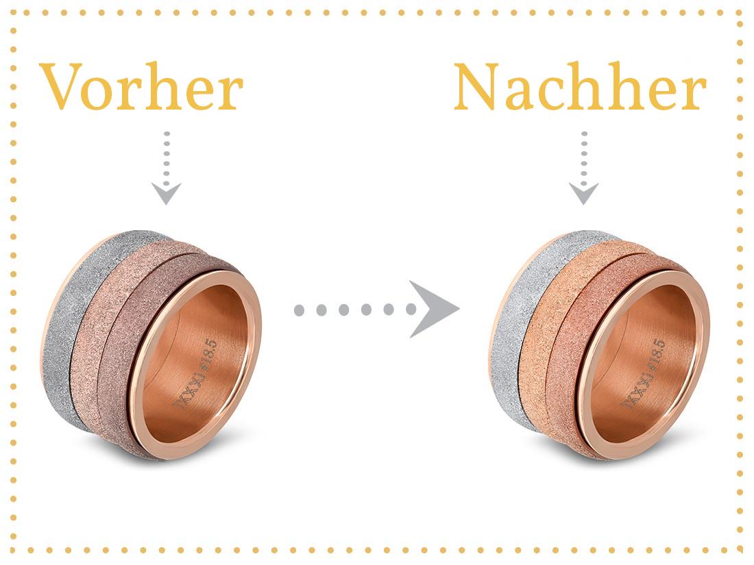 Vor und nach der Reinigung deiner iXXXi-Ringe