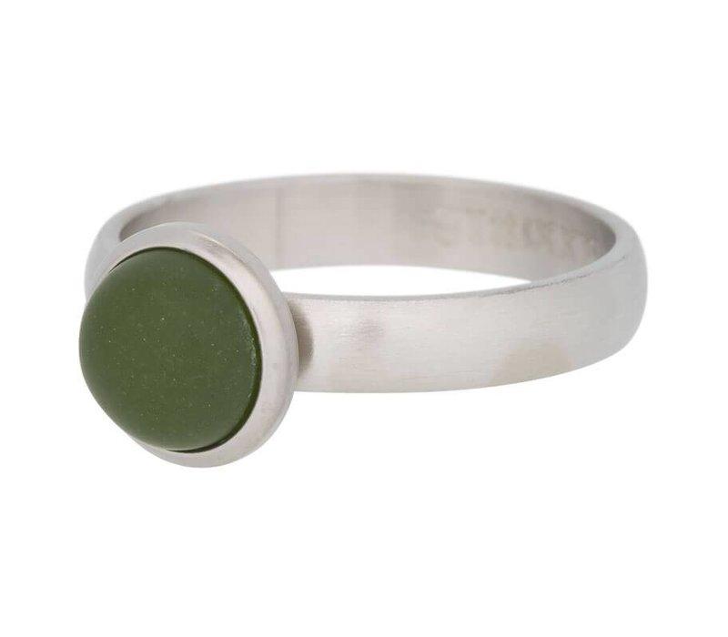 iXXXi Füllring 4 mm Stein olivgrün silber