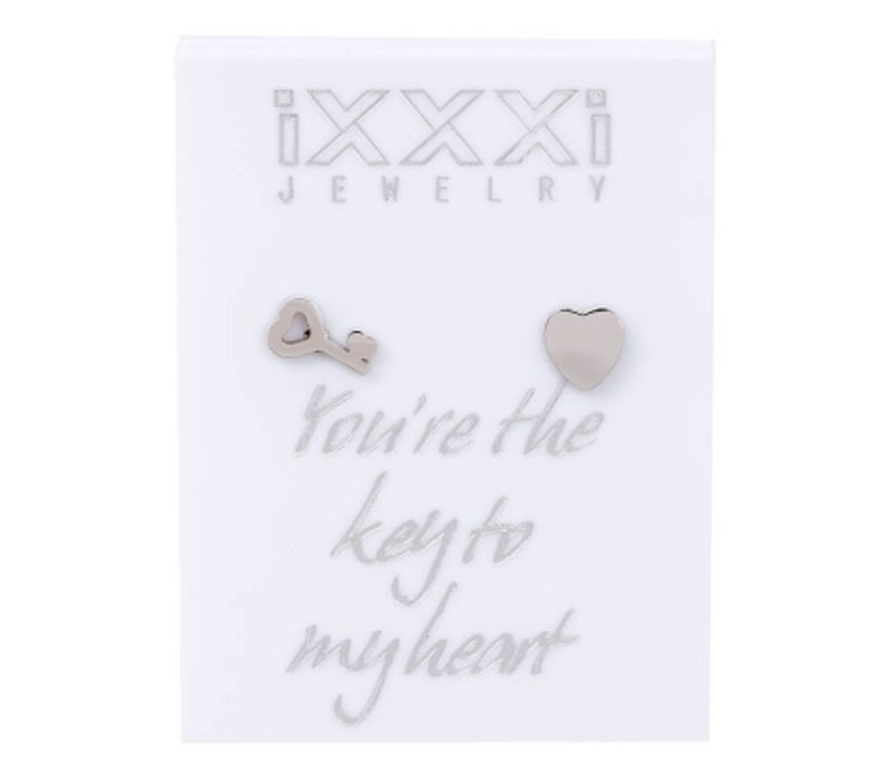 iXXXi Ohrstecker You're the key to my heart silber